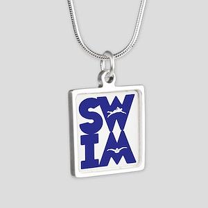 SWIM BLOCK Silver Square Necklace