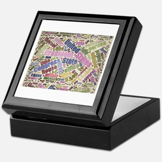 Colorful Constitution Text Graphic Keepsake Box