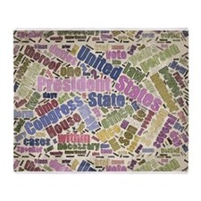 Colorful Constitution Text Graphic Throw Blanket