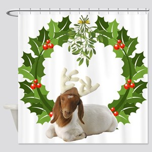 Baby Boer Goat Christmas Shower Curtain