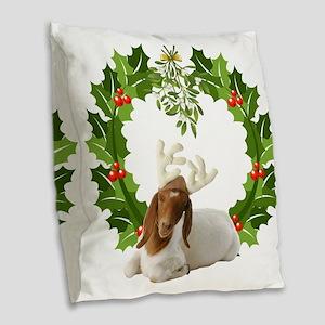 Baby Boer Goat Christmas Burlap Throw Pillow