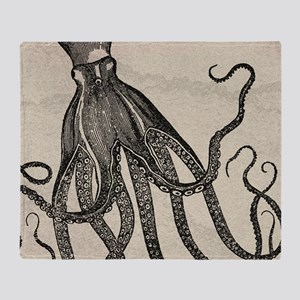 Beautiful Black Octopus on marbling texture Throw
