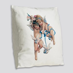 Angels of Peace Burlap Throw Pillow