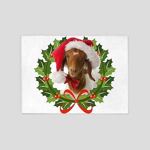 Baby Boer Goat in Santa Hat 5'x7'Area Rug