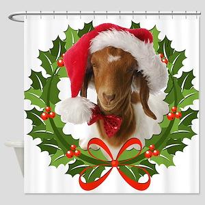 Baby Boer Goat In Santa Hat Shower Curtain