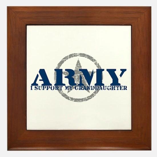 Army - I Support My Granddaughter Framed Tile