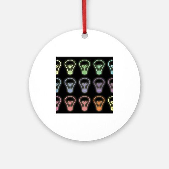 Colorful lightbulbs pattern illus Ornament (Round)