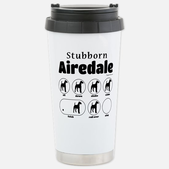 Stubborn Airedale v2 Stainless Steel Travel Mug