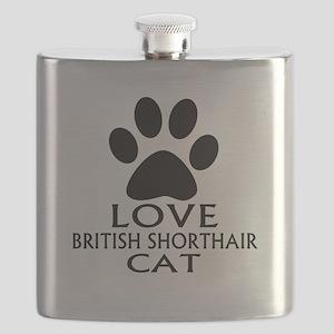 Love British Shorthair Cat Designs Flask