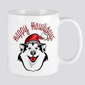 Happy Howlidays Husky Santa Mugs