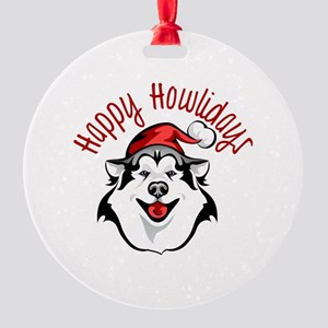 Happy Howlidays Husky Santa Round Ornament