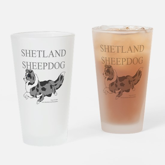 Bi-Blue Sheltie Drinking Glass