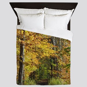 Autumn Trail Scenery Queen Duvet