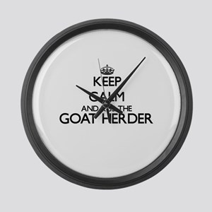 Keep calm and kiss the Goat Herde Large Wall Clock