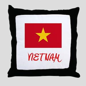 Vietnam Flag Artistic Red Design Throw Pillow