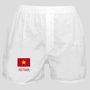 Vietnam Flag Artistic Red Design Boxer Shorts