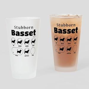 Stubborn Basset v2 Drinking Glass