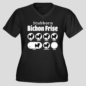 Stubborn Bic Women's Plus Size V-Neck Dark T-Shirt