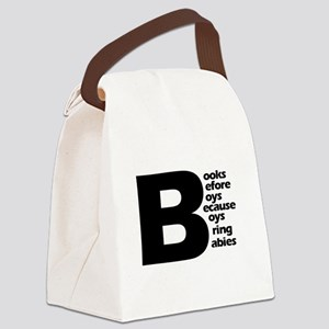 Books Before Boys Canvas Lunch Bag