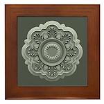 Art Nouveau Medallion Moss Framed Tile