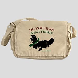 Holiday Sheltie Bi-Black Messenger Bag