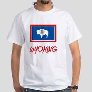 Wyoming Flag Artistic Red Design T-Shirt