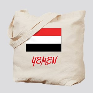 Yemen Flag Artistic Red Design Tote Bag