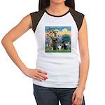 StFrancis-Lab & Sheltie Women's Cap Sleeve T-Shirt
