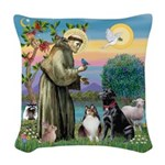 StFrancis-Lab & Sheltie Woven Throw Pillow