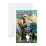 StFrancis-Lab & Sheltie Greeting Cards (Pk of 10)