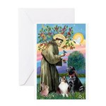 StFrancis-Lab & Sheltie Greeting Card