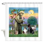 StFrancis-Lab & Sheltie Shower Curtain