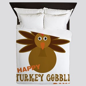 Happy Turkey Gobble Day Thanksgiving Queen Duvet
