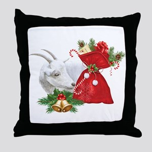 Christmas Goat Finds Candy Cane Throw Pillow
