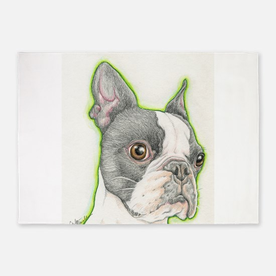 Boston Terrier Drawing 5'x7'Area Rug