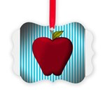 Red Apple on Teal and White Stripes Ornament