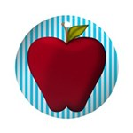 Red Apple on Teal and White Stripes Ornament (Roun