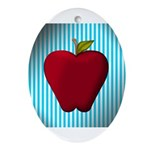 Red Apple on Teal and White Stripes Ornament (Oval