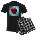 Red Apple on Teal and White Stripes Pajamas