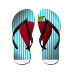 Red Apple on Teal and White Stripes Flip Flops