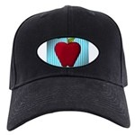 Red Apple on Teal and White Stripes Baseball Hat