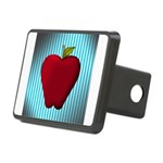 Red Apple on Teal and White Stripes Hitch Cover