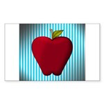 Red Apple on Teal and White Stripes Sticker