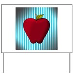 Red Apple on Teal and White Stripes Yard Sign