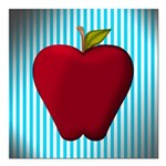 Red Apple on Teal and White Stripes Square Car Mag