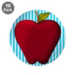 Red Apple on Teal and White Stripes 3.5