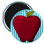 Red Apple on Teal and White Stripes Magnets