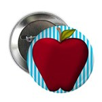 Red Apple on Teal and White Stripes 2.25
