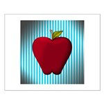 Red Apple on Teal and White Stripes Posters