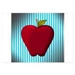 Red Apple on Teal and White Stripes Invitations